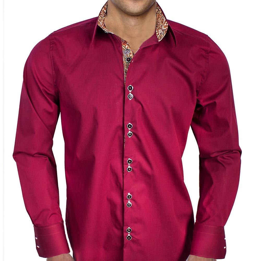 Anton Alexander Maroon With Tan Metallic Designer Dress Shirts