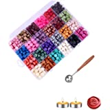 600PCS Sealing Wax Beads Packed in Plastic Box, with 2PCS Tea Candles and 1 PC Wax Melting Spoon for Wax Sealing Stamp…