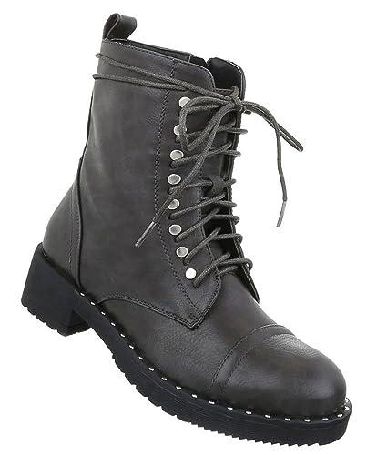 Schuhcity24 Robuste Damen Stiefeletten   Worker Boots Schnürung    Halbschaft Stiefel   Damenschuhe Schnürstiefel Leder- 020913a0d0
