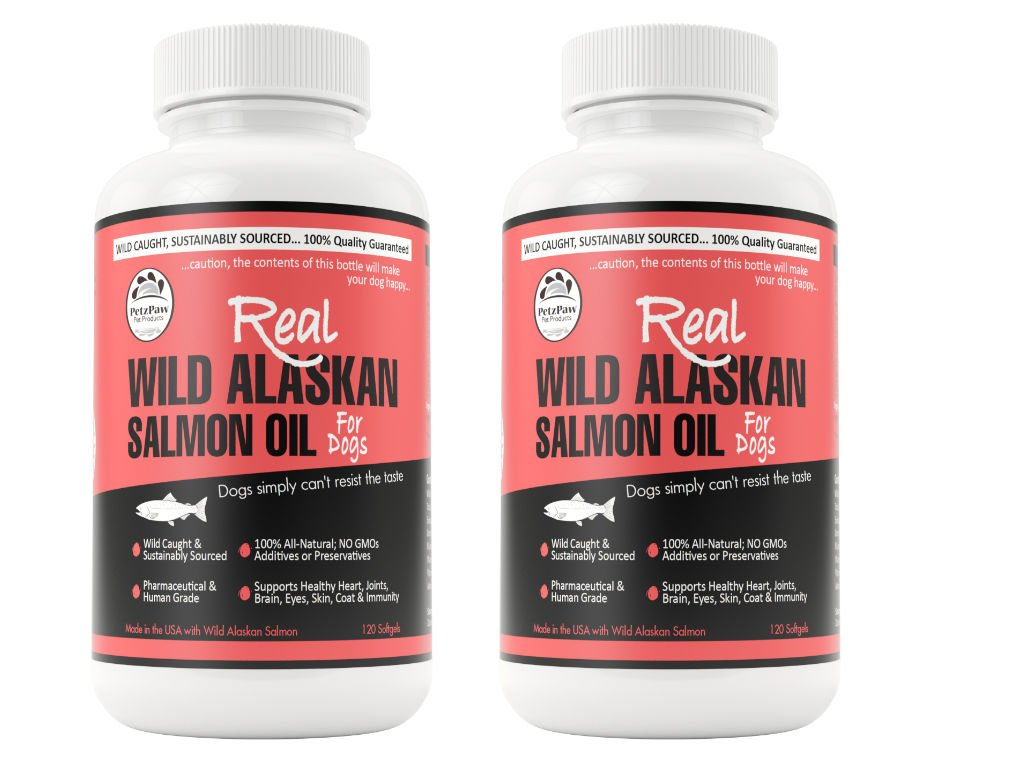 PetzPaw Pet Products Pet Salmon Oil for Dogs Cats and Horses Made in the USA Pure Wild Alaskan Premium Omega 3 Fish Supplement - 1000 mg - 120 Capsules (2 Pack)