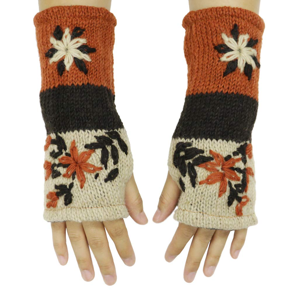 CFrost Women's Hand Knit Winter Flower Fingerless Arm Warmer Gloves