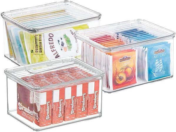 mDesign Caja organizadora apilable cajonera plástico con Tapa para ...
