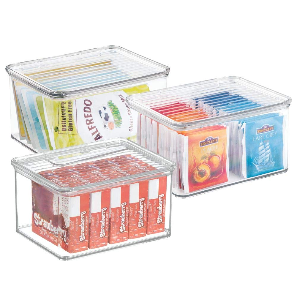 mDesign Storage Boxes with Lid - Set of 3 - Ideal Kitchen and Refrigerator Boxes - Practical Plastic Household Boxes for Tables and Cabinets - Clear