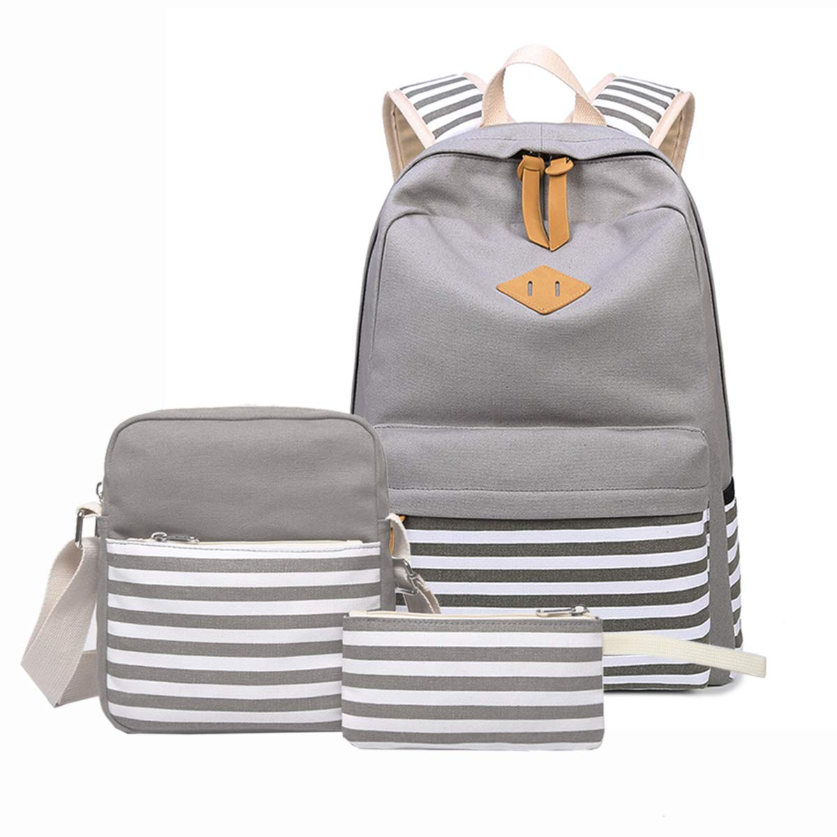 Sammid Casual Bookbags Set Boys,Fashion Lightweight 3pcs/Set Canvas Studen Backpack Fits 14 inch Laptop Smooth Zipper Shoulder Bag Pen Case Teen Girls Boys - Gray