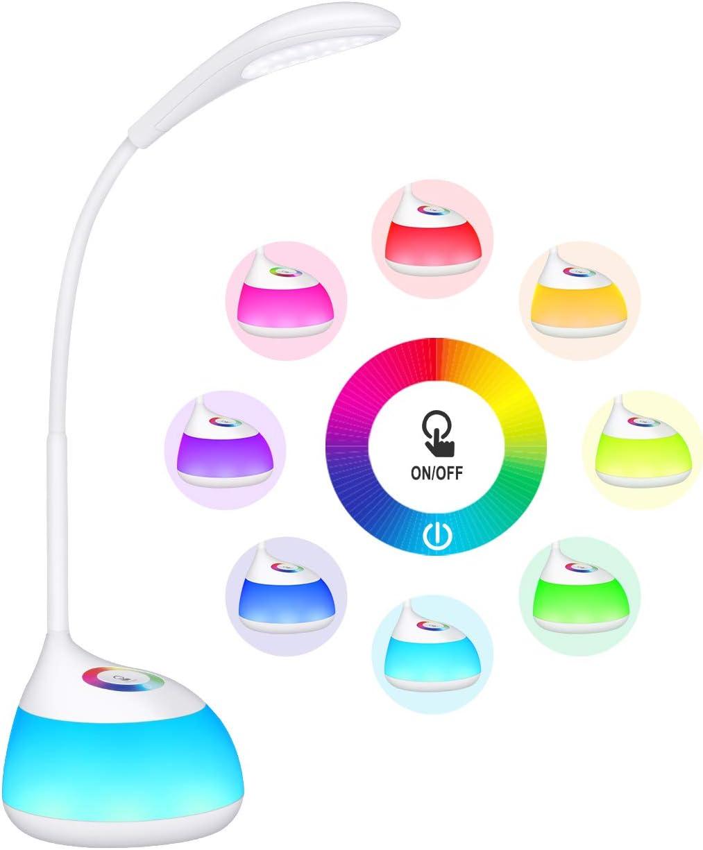 TOPELEK Lampara Escritorio 16 LED Infantil Recargable, Luz Nocturna con 256 Luces de Color, 3 Niveles de Brillo, Autonomía de 30H, Brazo Flexible, Control Táctil, Regalo para Niños