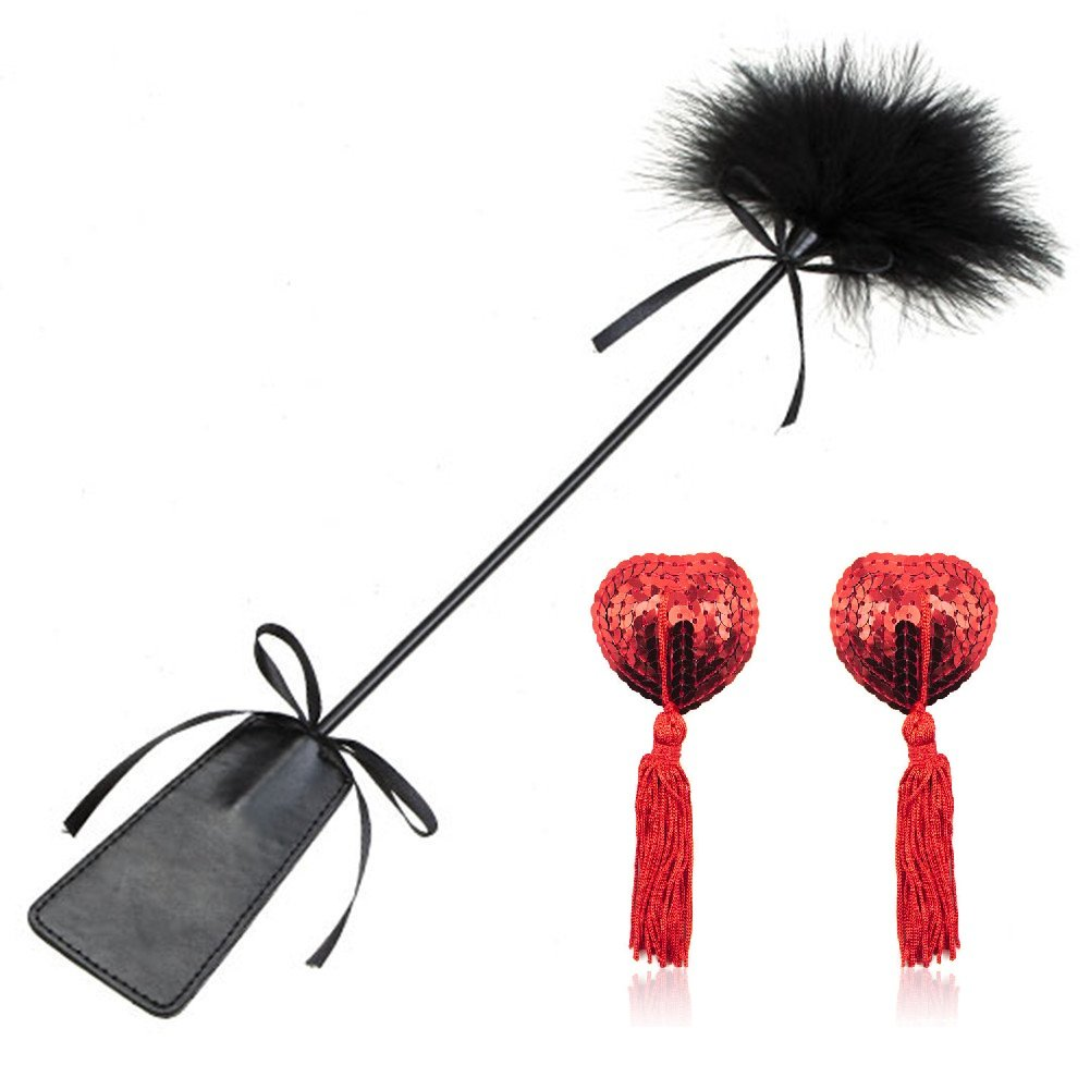 2 Bondage Set Under Bed Restraint Kit SM Sex Toy Flirt Whip Spanking Paddle Feather Tickler Hand Slapper with Bra Nipple Cover Pasties Stickers Nipple Jewelry Nipple Toys