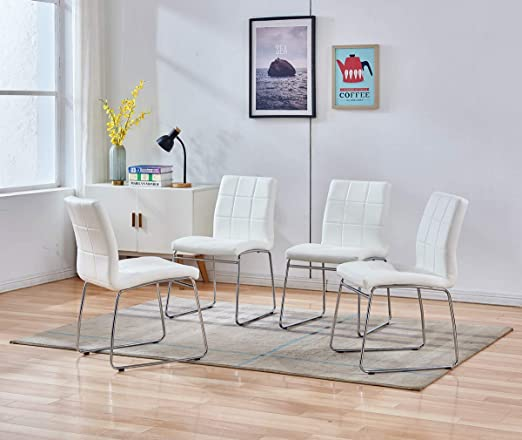 Enjowarm Dining Chairs Set Of 2 Grey White Sides Faux Leather Modern Kitchen Chairs Metal Chrome