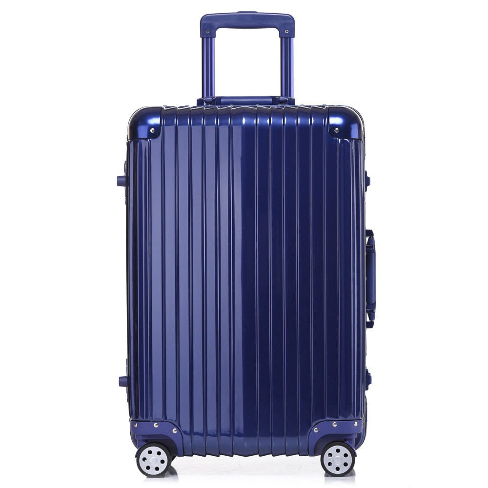 Aluminum Rolling Luggage Spinner Trolley Carry-On Suitcase Blue 20 Inch