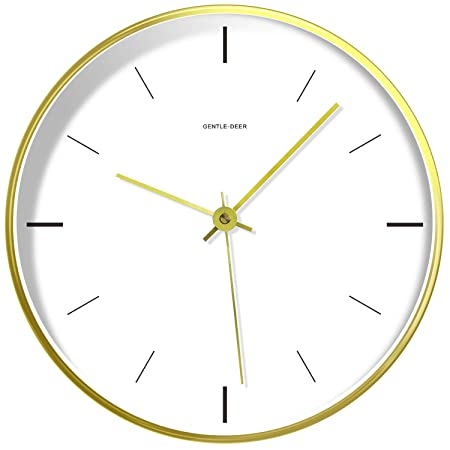 WILNARA Metal Frame Quartz Wall Clock Nordic Style 12inch Silent Non-Ticking,Place on Tabletop or Hanging,Accurate Sweep Movement Decorative for Living Room, Bedroom,Kitchen,Children s Room-Gold