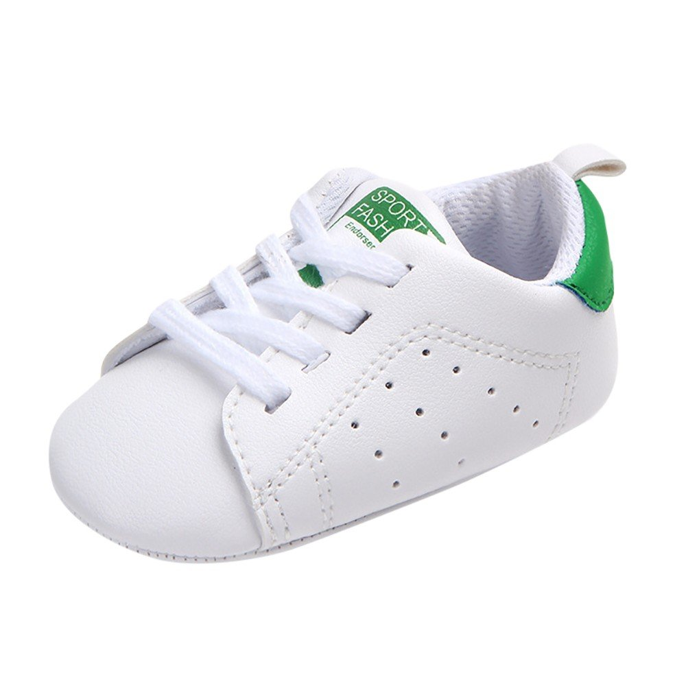 Baby Newborn Toddler Sports Running Shoes Anti-Slip Soft Sole Lace Up First Walkers Sneakers Breathable Casual Flats Green, 6-9M