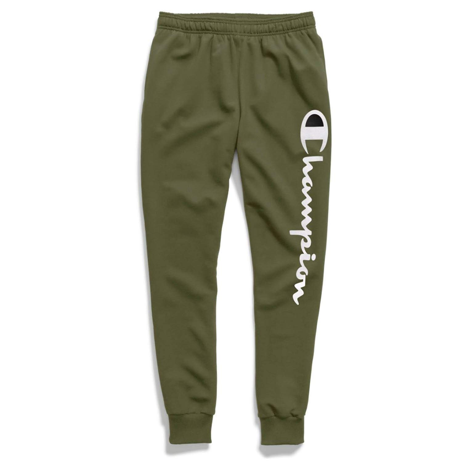 Champion Mens Powerblend Fleece Joggers, M, Vertical Cargo Olive by Champion