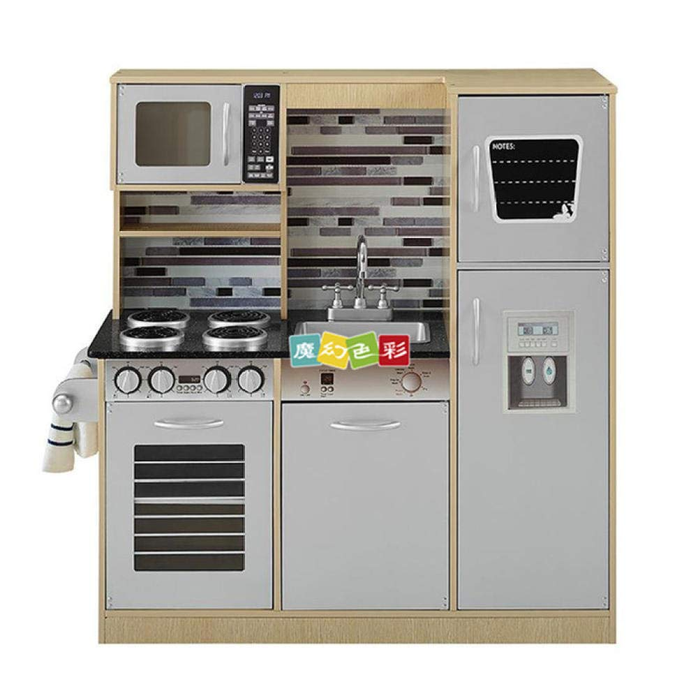 RenshenX Cuisine Jeu d'imitation,Set de Cuisine en Bois, Combinaison de réfrigérateur Jouet de Cuisine préscolaire, 96  32  103CM, Blanc,Jeu d'épicerie Enfants Cadeaux