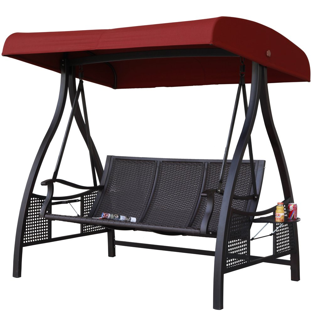 Amazon.com : Abba Patio 3 Person Outdoor Metal Gazebo Padded Porch Swing  Hammock With Adjustable Tilt Canopy, Red : Garden U0026 Outdoor