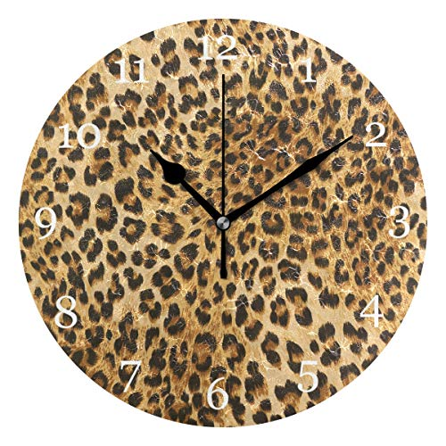 KUWT Animal Leopard Print Wall Clock Silent Non-Ticking 9.5 Inch Round Clock Acrylic Art Painting Home Office School Decor