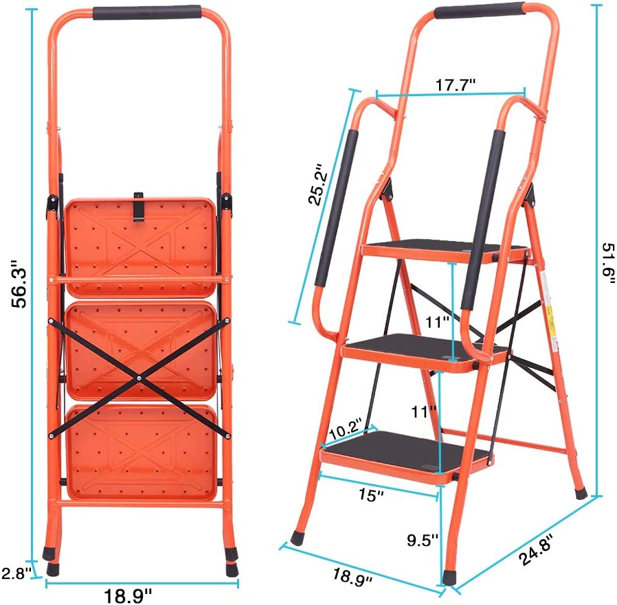 LUISLADDERS Step Ladder Folding Portable Tool Ladder Safety Padded Handrails with Detachable Tool Bag 2 Step
