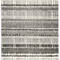 Safavieh Evoke Collection EVK494C Vintage Stripes Cream and Dark Grey Square Area Rug (6 Square)