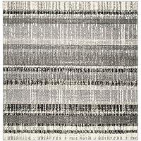 Safavieh Evoke Collection EVK494C Vintage Stripes Cream and Dark Grey Square Area Rug (6 Square)