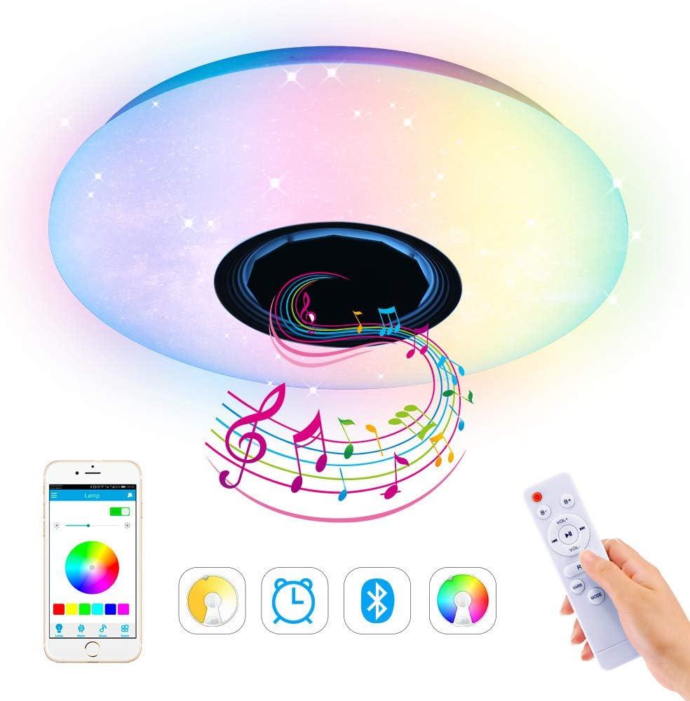Lámpara LED RGB de techo regulable, 36 W, música, LED, con altavoz Bluetooth, mando a distancia y control por aplicación, función de temporizador, para interiores, cocina, dormitorio, salón