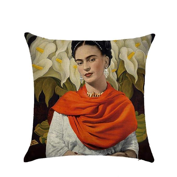 Ozar Fundas de cojín de Lino autorretrato Frida Kahlo para sofá, Coche, decoración del hogar, 18 x 18 Pulgadas, A, 18