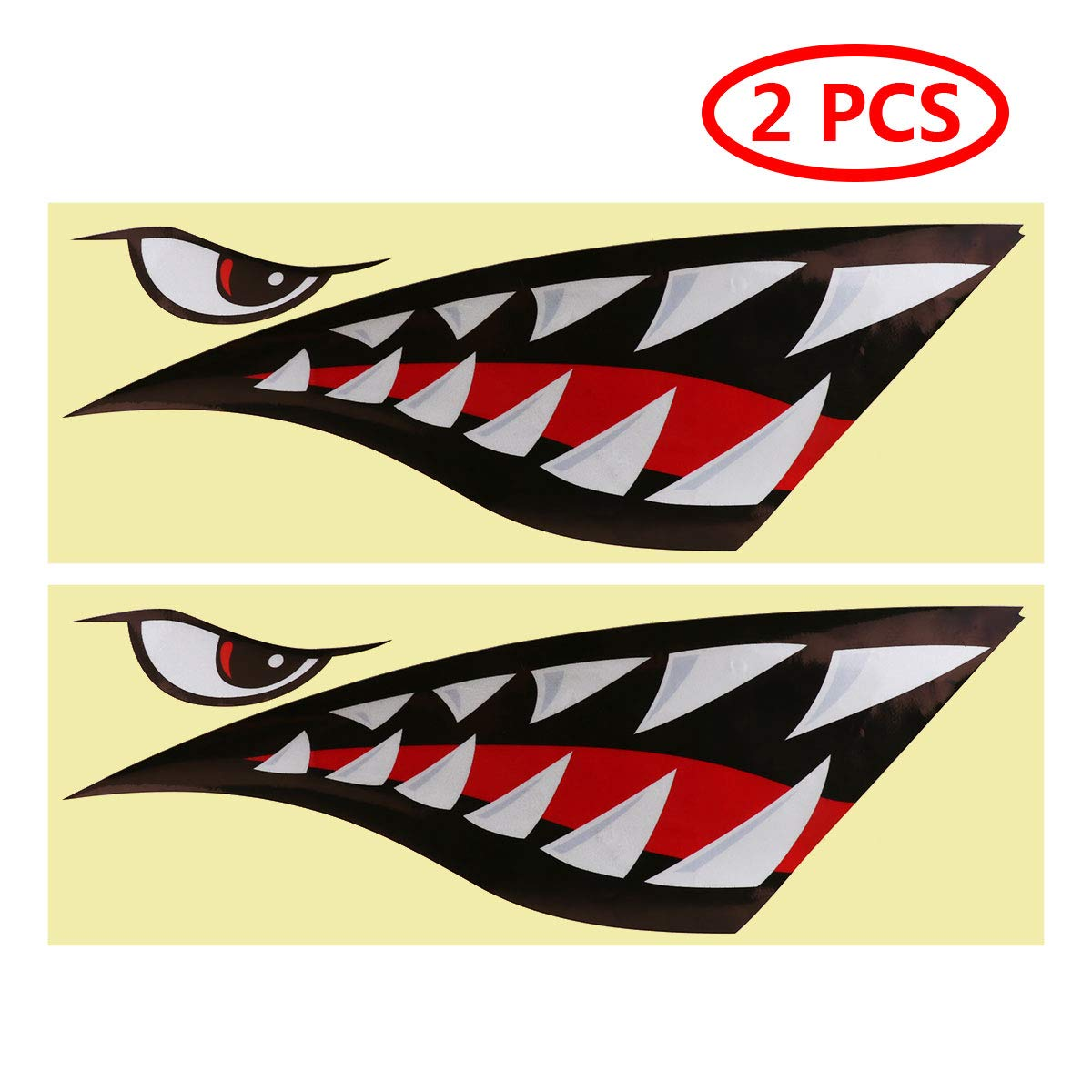 Freebily 2pcs Shark Teeth Mouth Reflective Decals Sticker Fishing Boat Canoe Car Truck Kayak Graphics Accessories