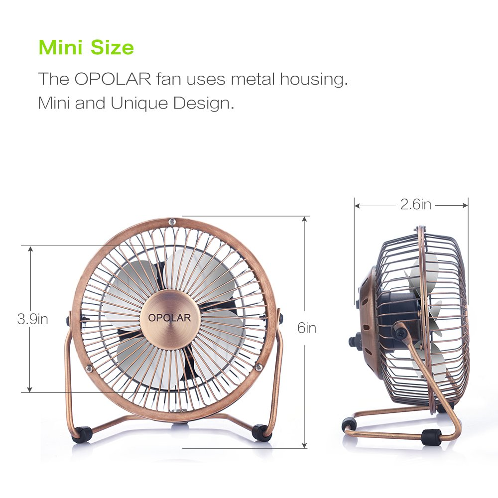 Quiet Operation; 3.9 ft USB Cord OPOLAR Mini USB Desk Fan Metal Design USB Powered Personal Table Fan for Home and Office-Blue Handheld Size Power Saving