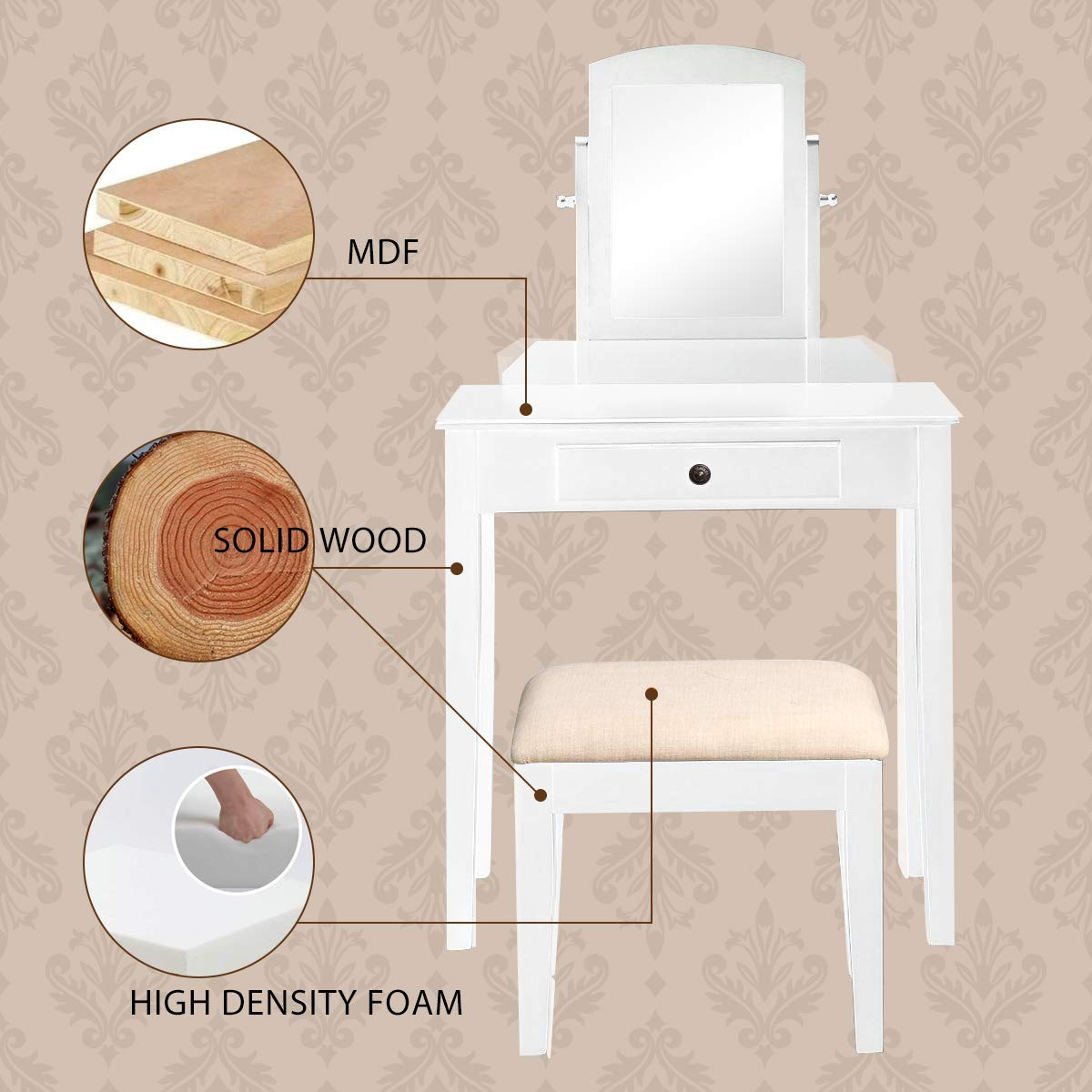 Harper & Bright Designs Vanity Table Set Make-up Dressing Table Vanity Table with Mirror and Cushioned Vanity Stool 1 Drawer (White) by Harper & Bright Designs