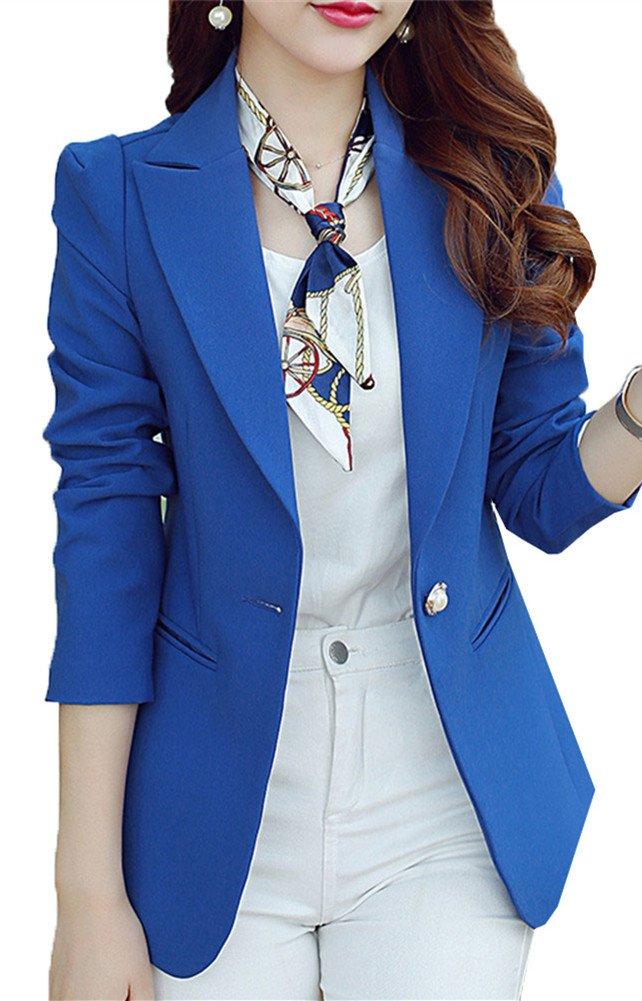 SiYuan Women Blazer BLAZER レディース B01J3O7ITY M ブルー ブルー M