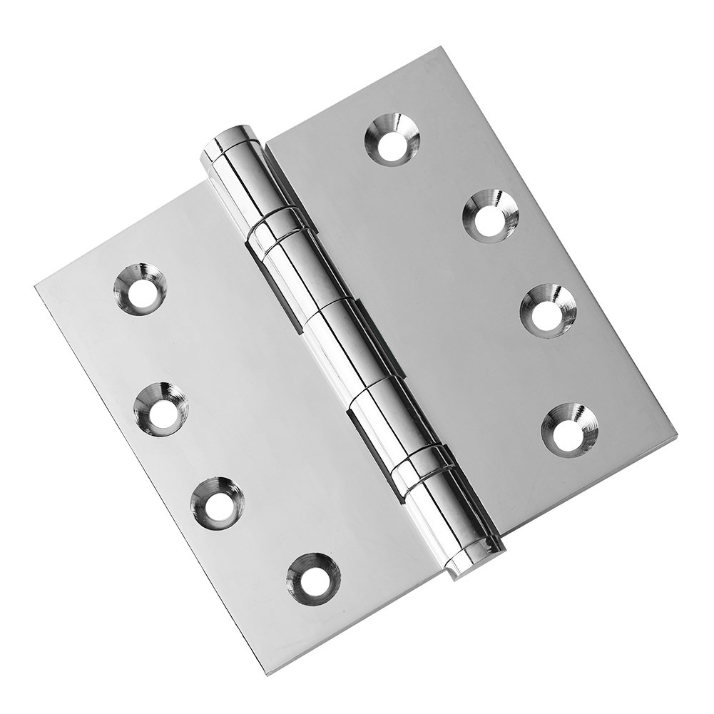 2 PK - Door Hinges 4 x 4 Extruded Solid Brass Ball Bearing Polished Chrome Architectural Grade Flat Tips Included