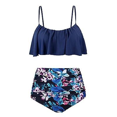 Steagoner Women Sexy Spaghetti Strap Two Piece Ruffled Swimsuit Tummy Contro Bottom Floral Print Bikini Set: Clothing