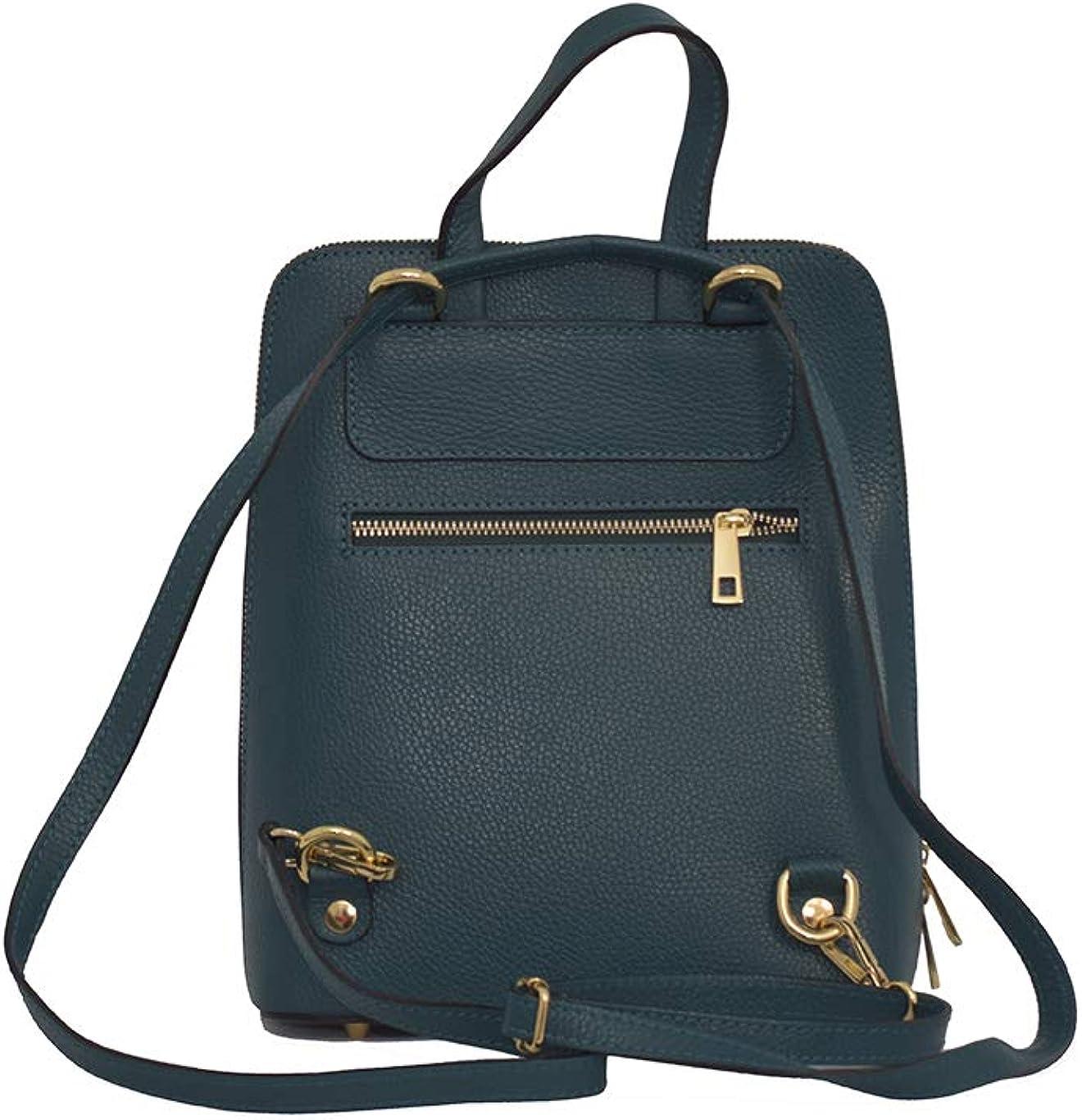 A to Z Leather 3 in 1 Rucksack   Umhängetasche und Handtasche - Echt italienisches Rauleder Petrol