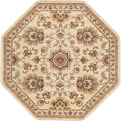 Elegance Rug Octagon (Charlotte Traditional Oriental Ivory Octagon Area Rug, 8' Octagon)
