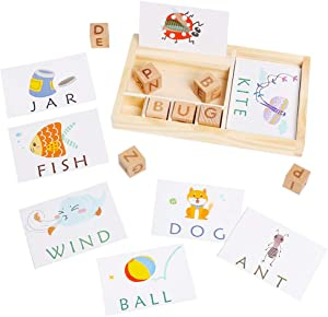USATDD Matching Letter Spelling and Learning Game with Sight Words Flash Cards Alphabet ABC Learning Educational Montessori Puzzle Gift for Preschool Kindergarten Kids Age 3 4 5 Years Old