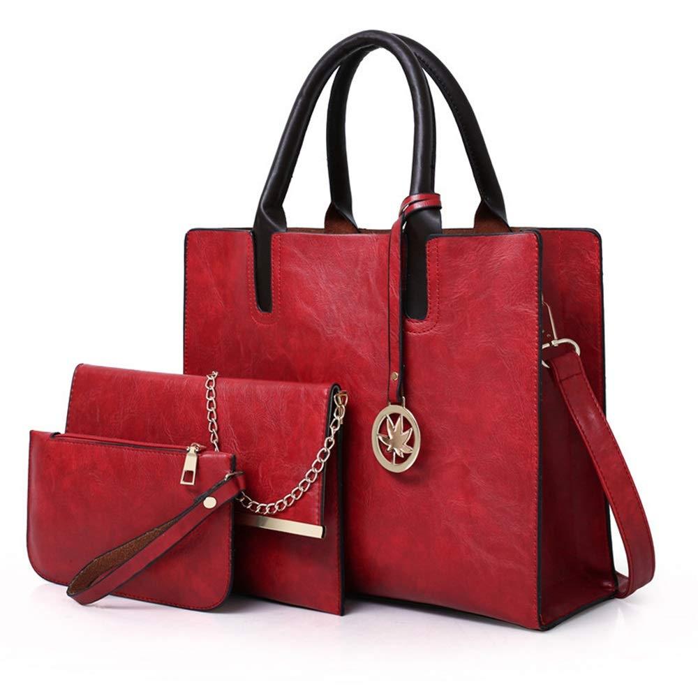 Zgsjbmh Frauen Handtaschen Daughter Package PU PU PU Female Bag Einfache Handtasche Uni Schulter Tragbare Diagonale Tasche Damen Handtasche (Farbe   Rot) B07NMH76JG Henkeltaschen Trendy f187d4