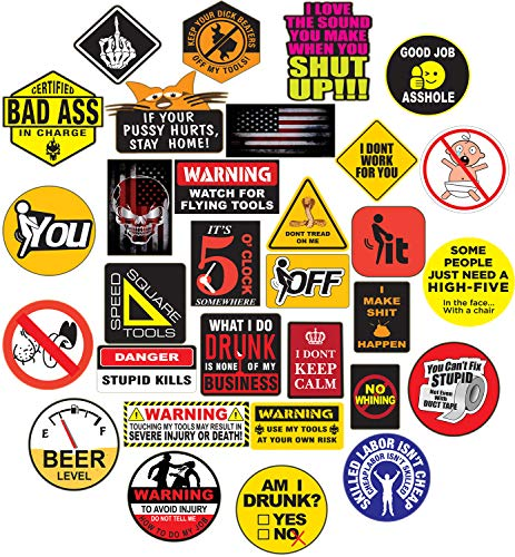 32 Hard Hat Sticker,Tool Box Stickers- 100% Plastic(Vinyl), Funny Decals Construction, Electrician, Oilfield, Fire Crew, Mechanic- Skateboard Sticker Decal.
