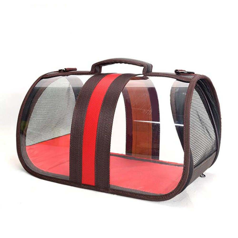 Red XS Red XS Fashion Small Pet Transparent Outdoor Bag Portable Carrier Bag XS-L(Red)