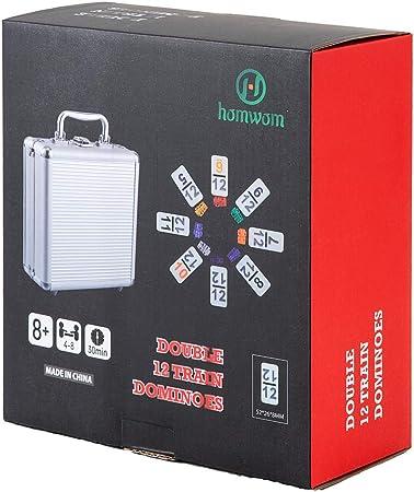 Homwom Juego de dominó Doble 12 – Dominó de Tren Mexicano con números, 91 baldosas de Pollo Juego de dominó con Caja de Aluminio: Amazon.es: Juguetes y juegos