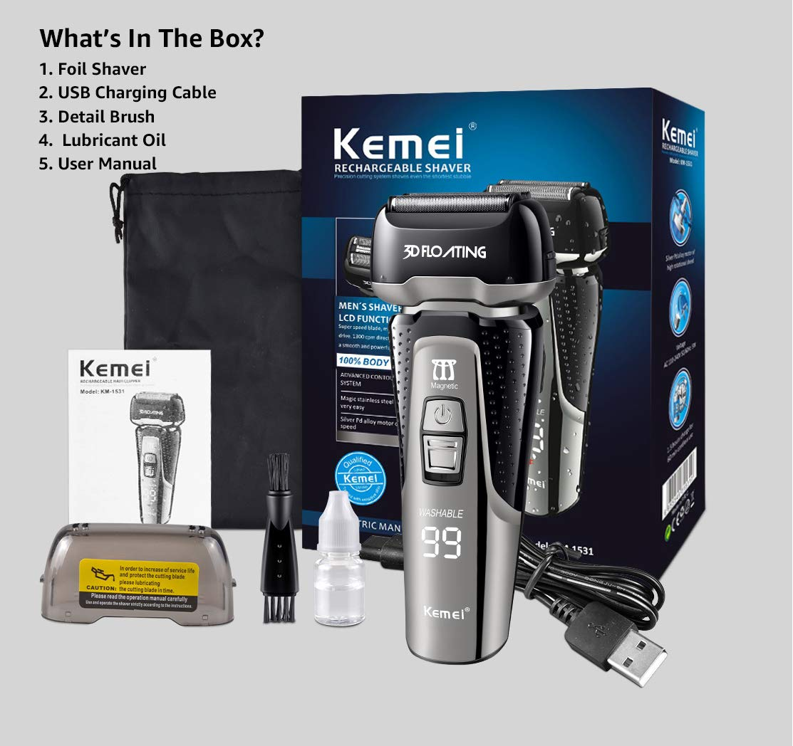 Kemei Electric Foil Shaver/3D Floating Electric Razor, Wet and Dry Electric Shaver with Pop up Trimmer LCD Display, Rechargeable and Cordless Razor