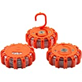 3 Pack Emergency Roadside Beacon LED Light, Portable Safety Flare Flashing Warning Light Kit with 9 Warning Light Modes & Magnetic Base for Car/Truck/Marine Boat (Batteries are NOT INCLUDED)