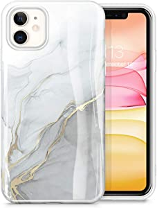 GVIEWIN Marble iPhone 11 Case, Ultra Slim Thin Glossy Soft TPU Rubber Gel Phone Case Cover Compatible iPhone 11 6.1 Inch 2019 (Blanco/Grey)