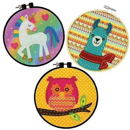 Learn-A-Craft Bundle Llama /& Owl Dimensions Felt Applique Kit for Beginners Unicorn 3pc