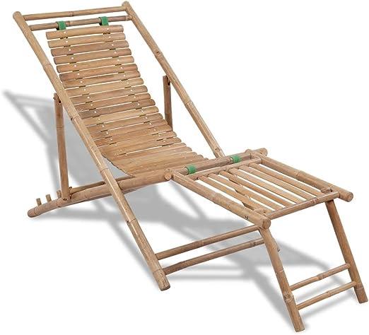 Furnituredeals tumbona madera Silla de playa de bambu con reposapies tumbona jardin: Amazon.es: Jardín