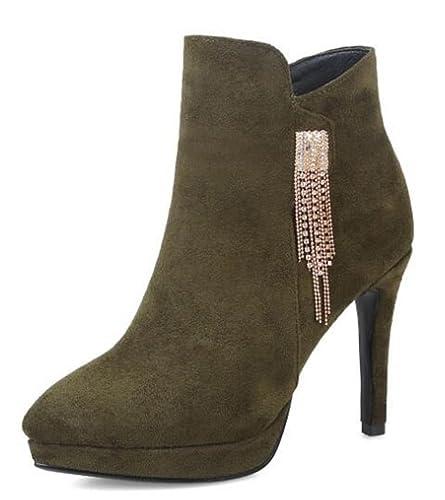 Easemax Damen Hübsch Metall Quaste Stilettos Kurzschaft Stiefel Pumps Grün 35 EU Xit2bqvWYu