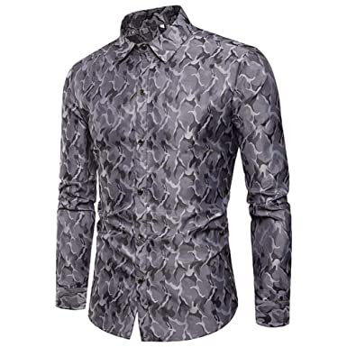 6e3b5f98 Image Unavailable. Image not available for. Colour: MCYs Men's Camouflage  Silk Long Sleeve Shirt Slim Fit ...
