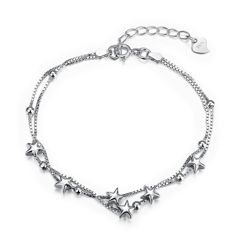 Fashion Sterling Silver Stretch Bracelet (stars)