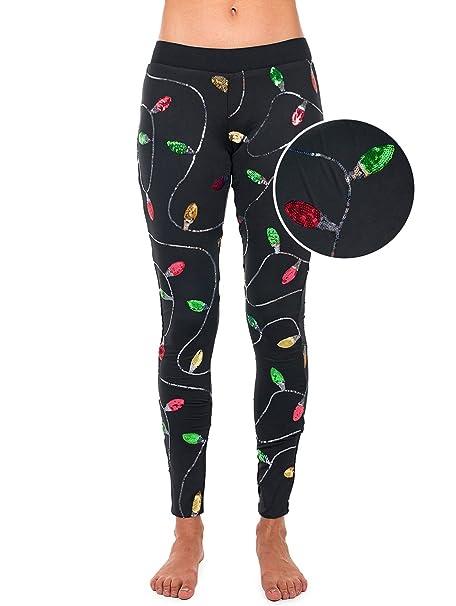 dbaf179ff3d1f Tipsy Elves Women s Christmas Lights Leggings Holiday Pants (X-Small) Black