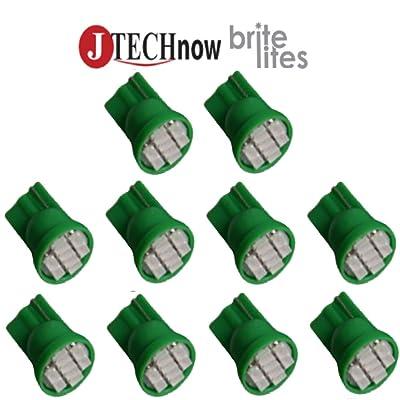 Jtech 10x T10 8-SMD Green LED Car Lights Bulb Interior, Instrument Cluster, License Light W5W, 147, 152, 158, 159, 161, 168, 184, 192, 193, 194 2825: Automotive