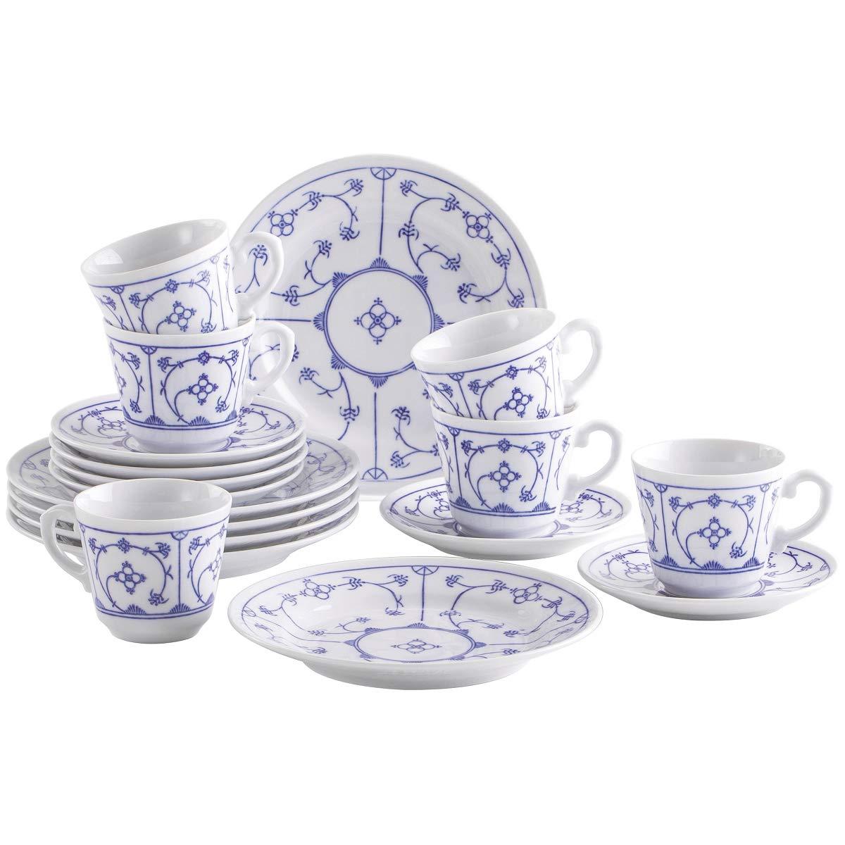 Kahla Kaffeeservice für 6 Personen Frühstücksset 18-teilig weiß blau Kuchenteller Tasse Untertasse Porzellan Vintage Blumenmuster
