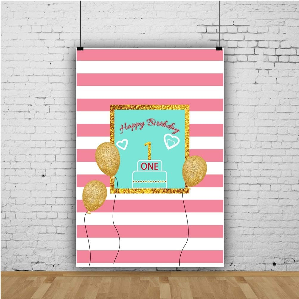 AOFOTO 4x6ft Polyester Pink and White Stripes Photography Background Happy 1st Birthday Golden Balloons First Bday Party Celebration Backdrop Kid Baby Children Portrait Shooting Photo Booth Prop