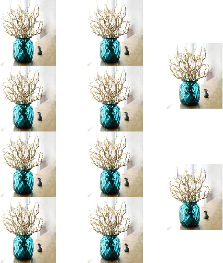 10pcs Artificial Simulation Tree Branch Stick Twig for Garden Decor-Coffee