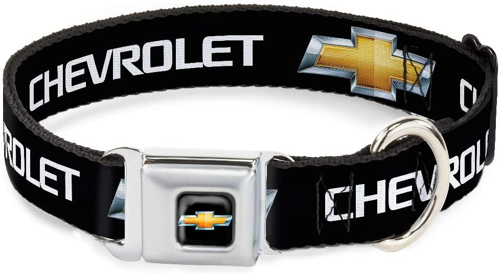 Buckle-Down Dog Collar Seatbelt Buckle Chevrolet Bowtie Black Gold White Available in Adjustable Sizes for Small Medium Large Dogs